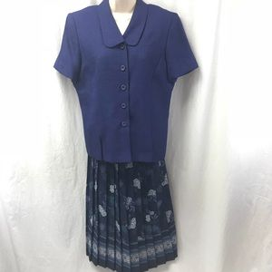 Leslie Fay 2PC Skirt Set Floral Shirt Sleeve 14P